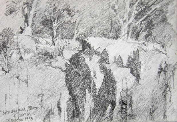 Balaclave Mine at Whroo Vic. Pencil study on location 1998