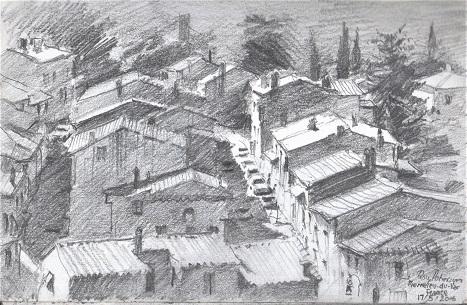 Pierrefu -Du- var -Southern France Pencil study on location 2016